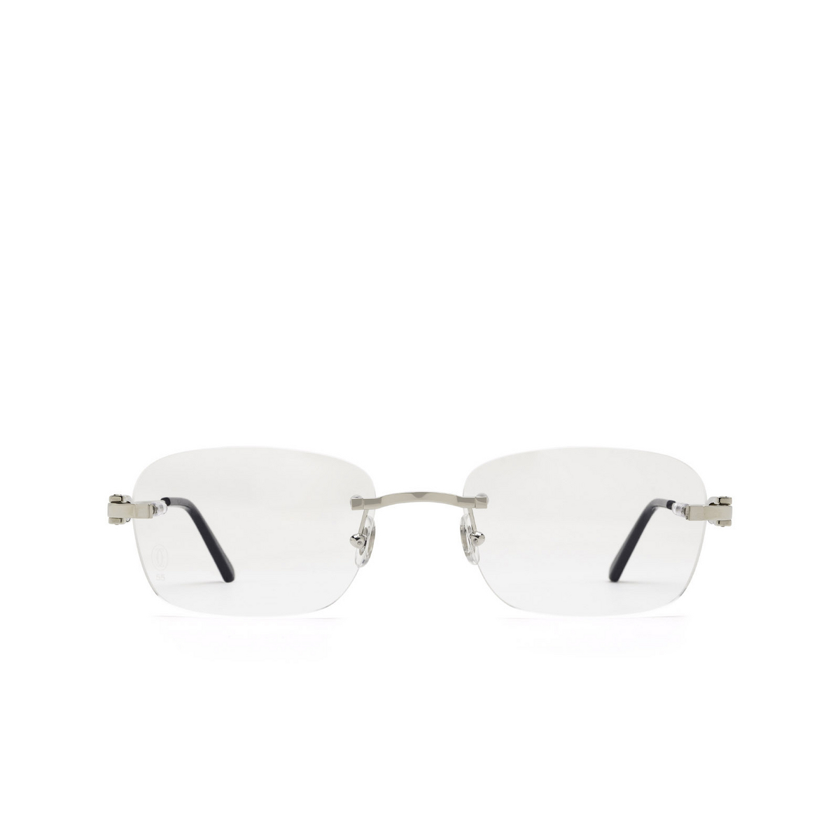 Cartier® Rectangle Eyeglasses: CT0290O color Silver 004 - front view.