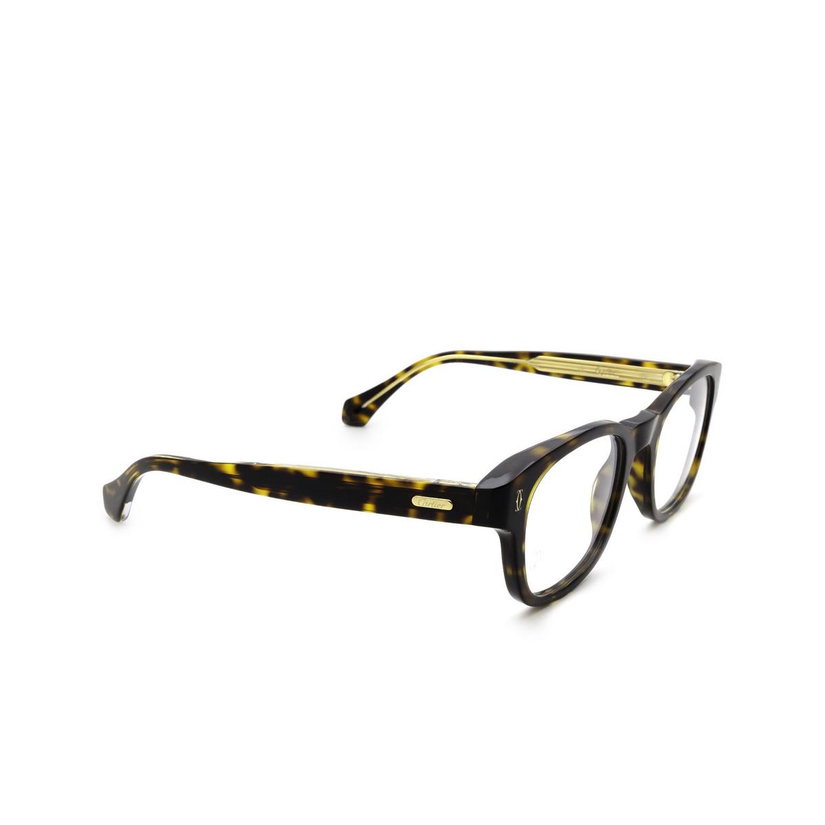 Cartier® Square Eyeglasses: CT0292O color Havana 002 - three-quarters view.
