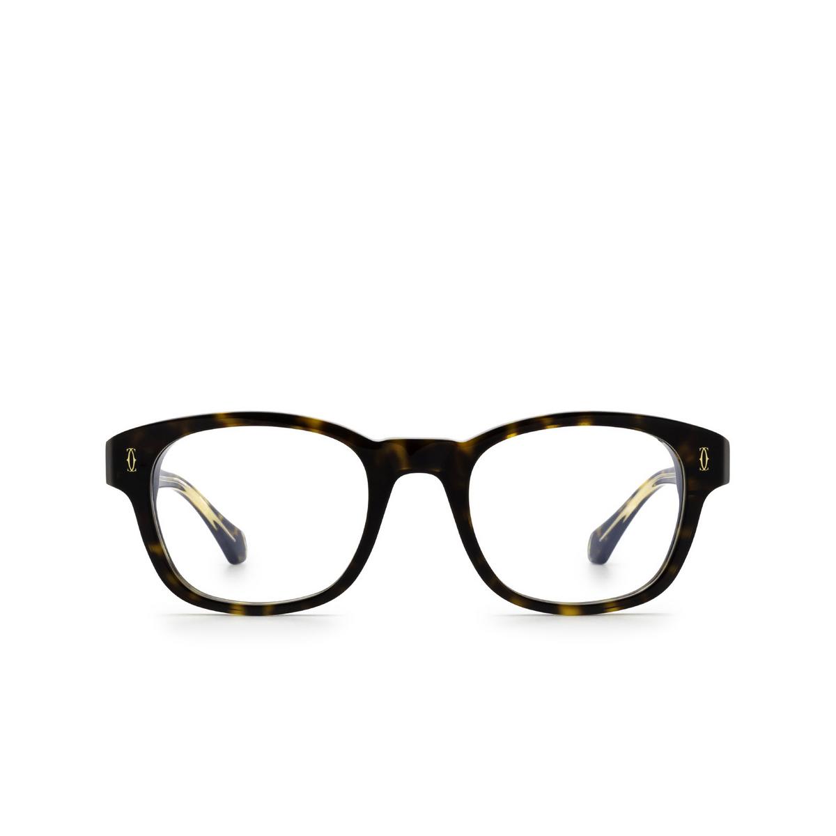 Cartier® Square Eyeglasses: CT0292O color Havana 002 - front view.