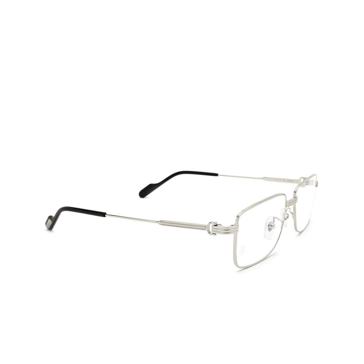 Cartier® Rectangle Eyeglasses: CT0294OA color Silver 001 - three-quarters view.