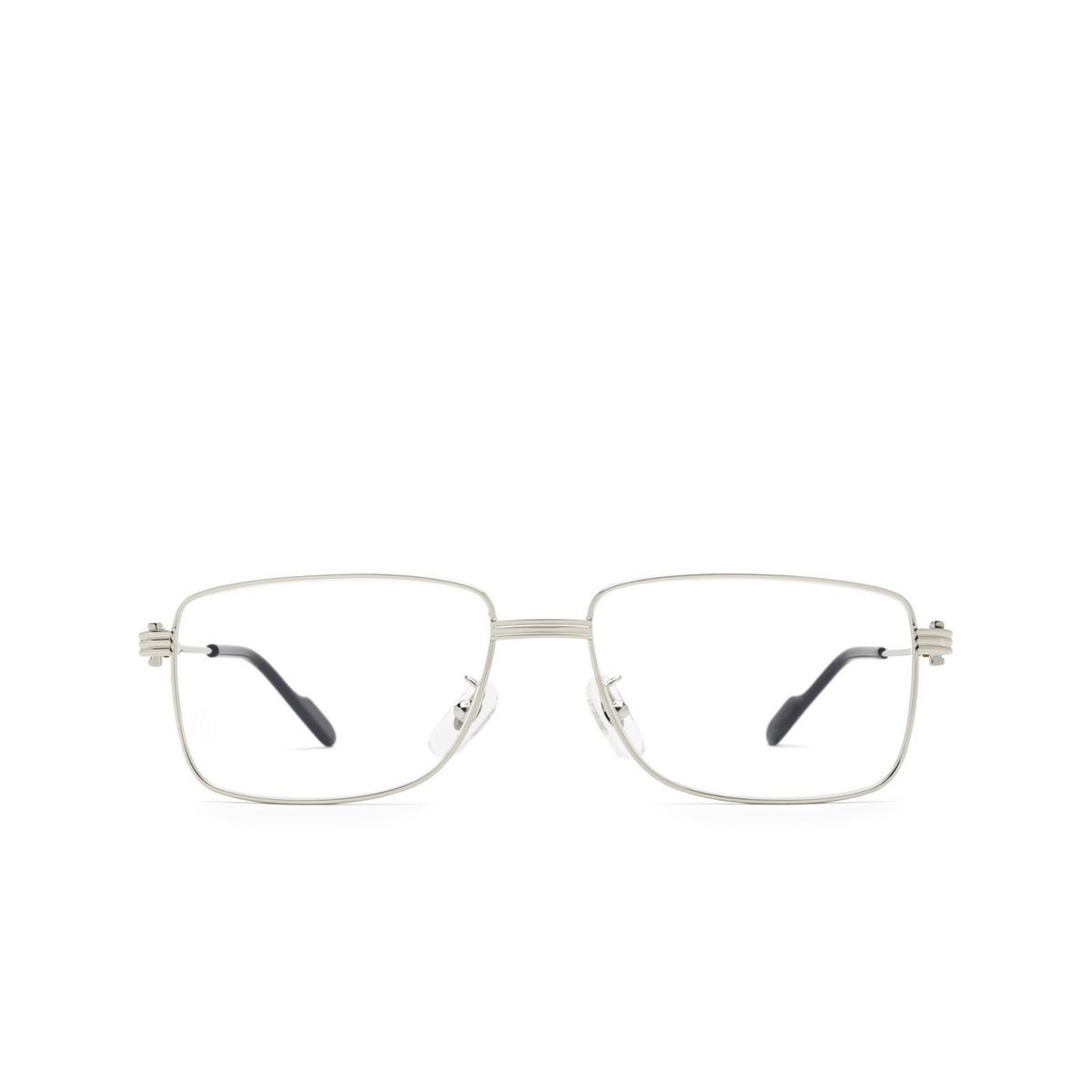 Cartier® Rectangle Eyeglasses: CT0294OA color Silver 001 - front view.