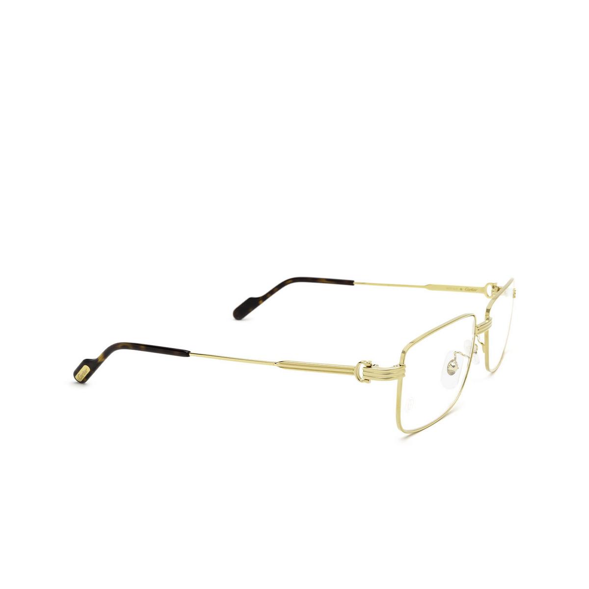 Cartier® Rectangle Eyeglasses: CT0294OA color Gold 002 - three-quarters view.