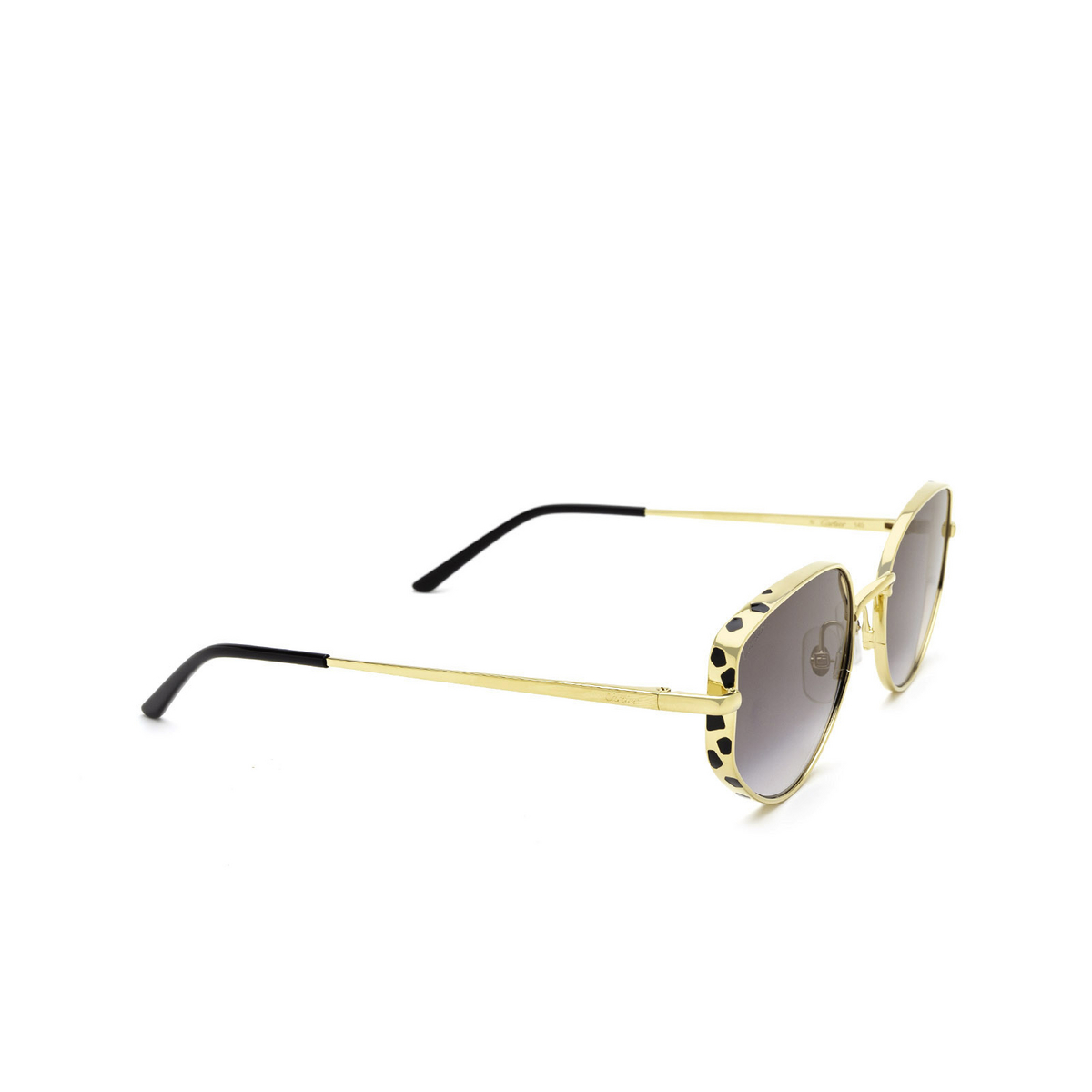Cartier® Cat-eye Sunglasses: CT0300S color Gold 001 - three-quarters view.