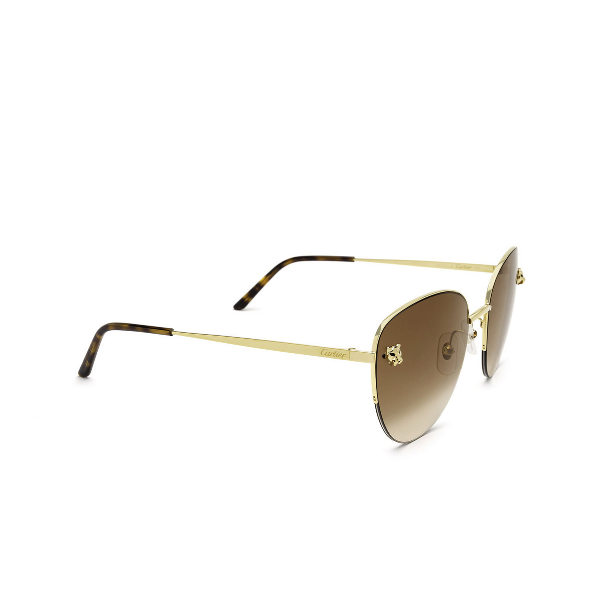 Cartier® Cat-eye Sunglasses: CT0301S color Gold 002 - three-quarters view.