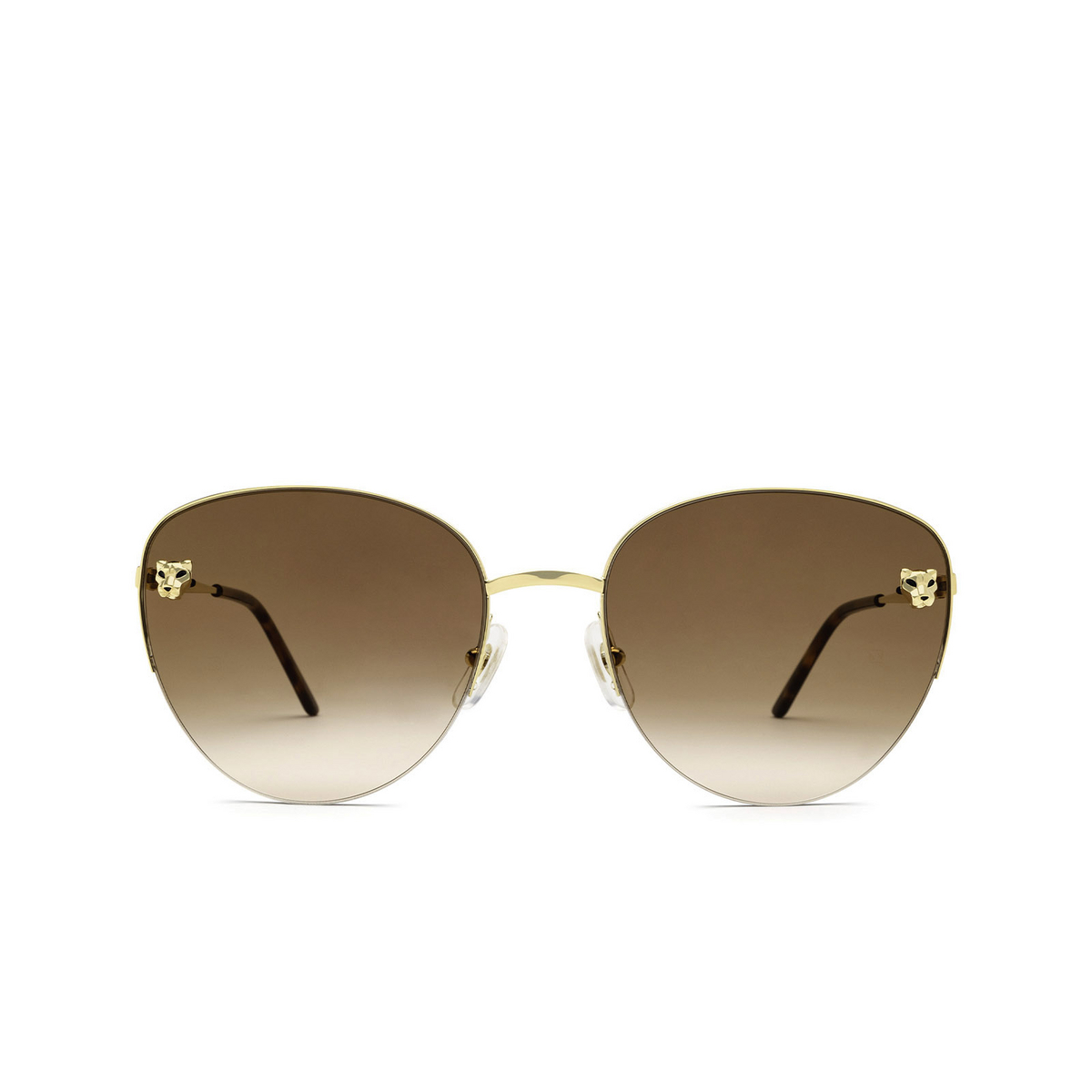 Cartier® Cat-eye Sunglasses: CT0301S color Gold 002 - front view.
