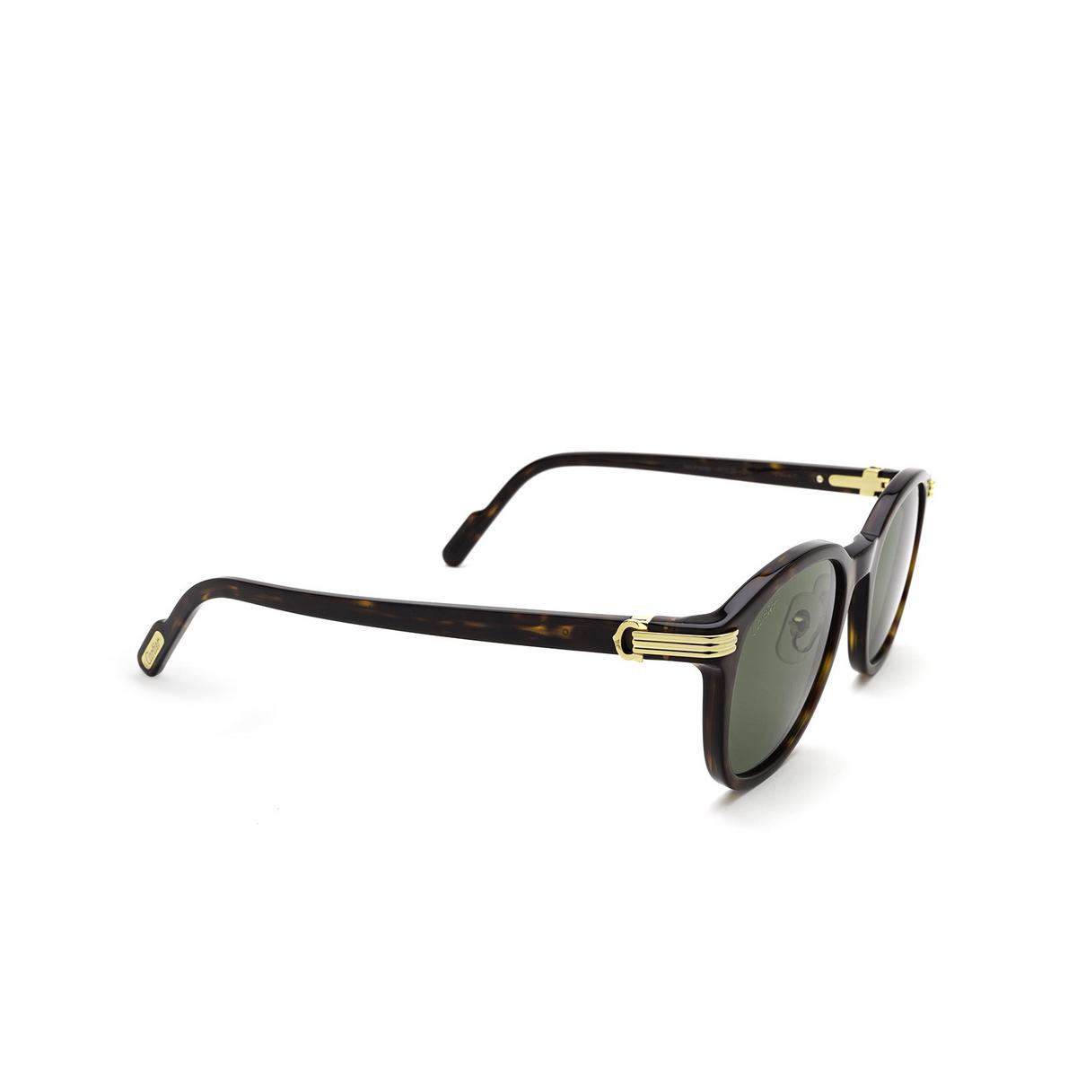 Cartier® Square Sunglasses: CT0302S color Havana 002 - three-quarters view.