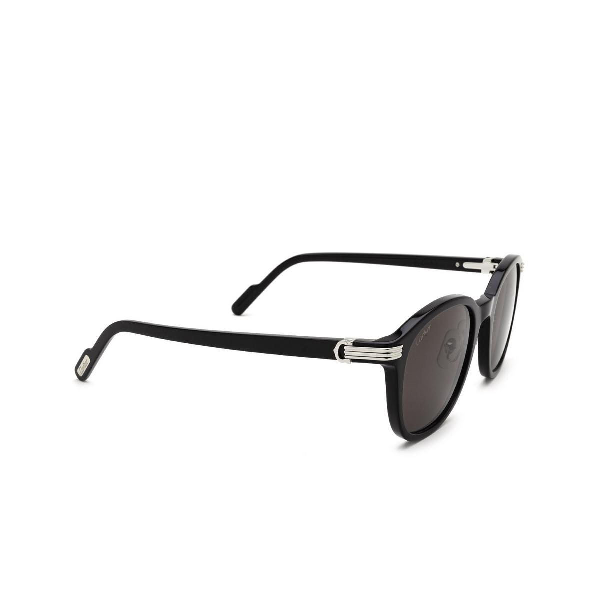 Cartier® Round Sunglasses: CT0302S color Black 005 - three-quarters view.