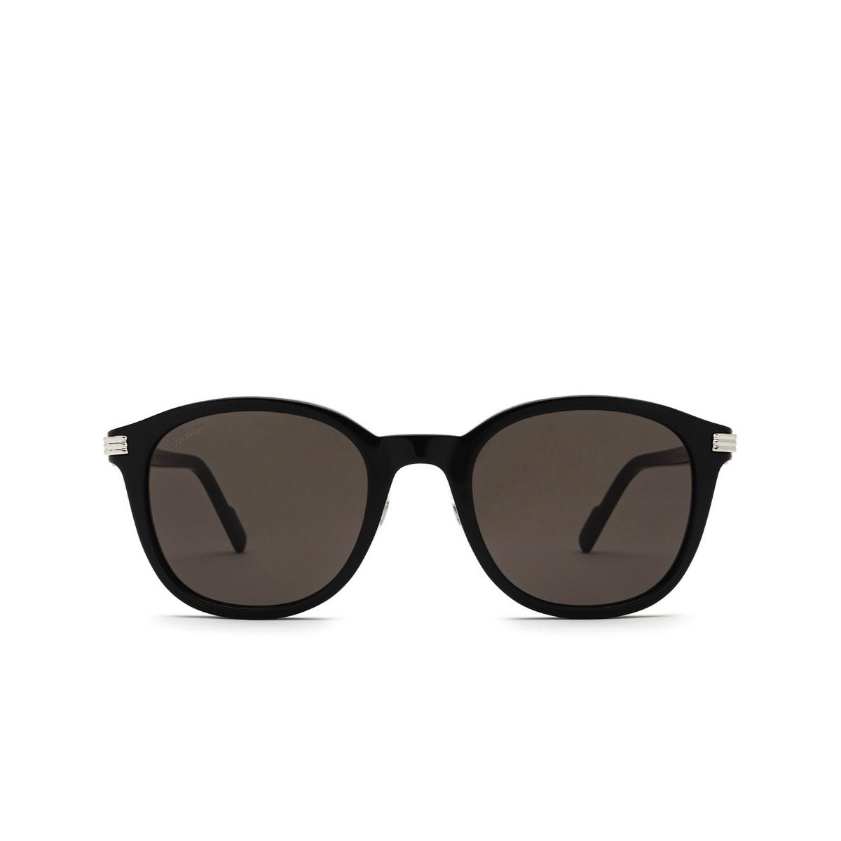 Cartier® Round Sunglasses: CT0302S color Black 005 - front view.