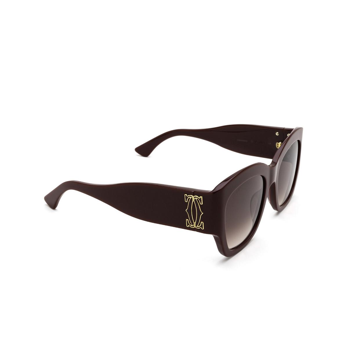 Cartier® Cat-eye Sunglasses: CT0304S color Burgundy 003 - three-quarters view.