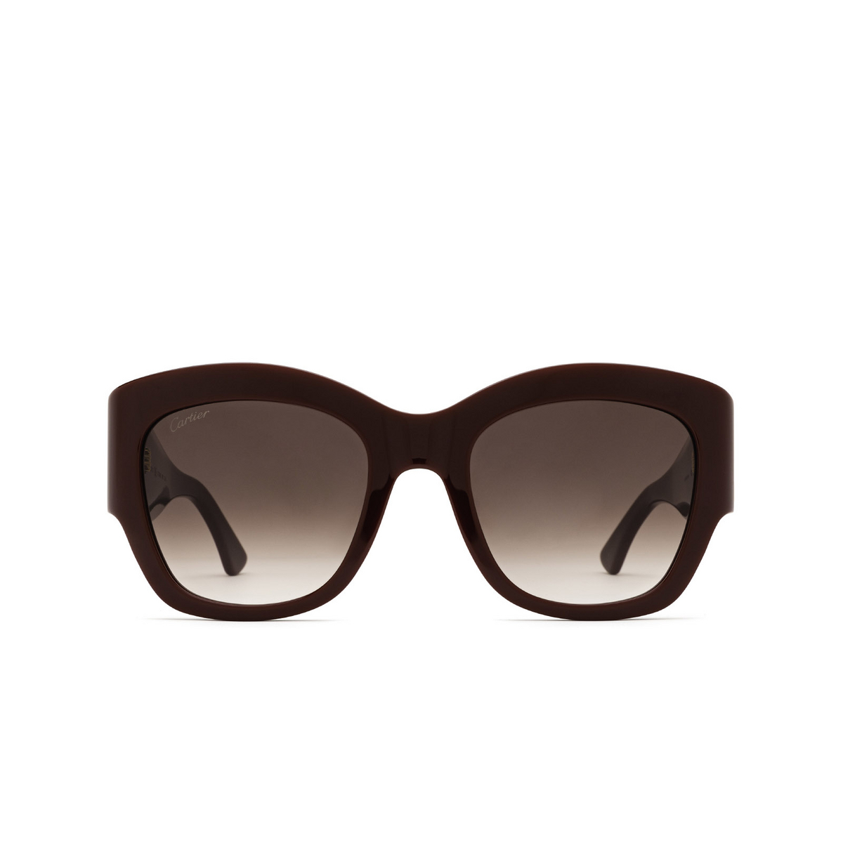 Cartier® Cat-eye Sunglasses: CT0304S color Burgundy 003 - front view.