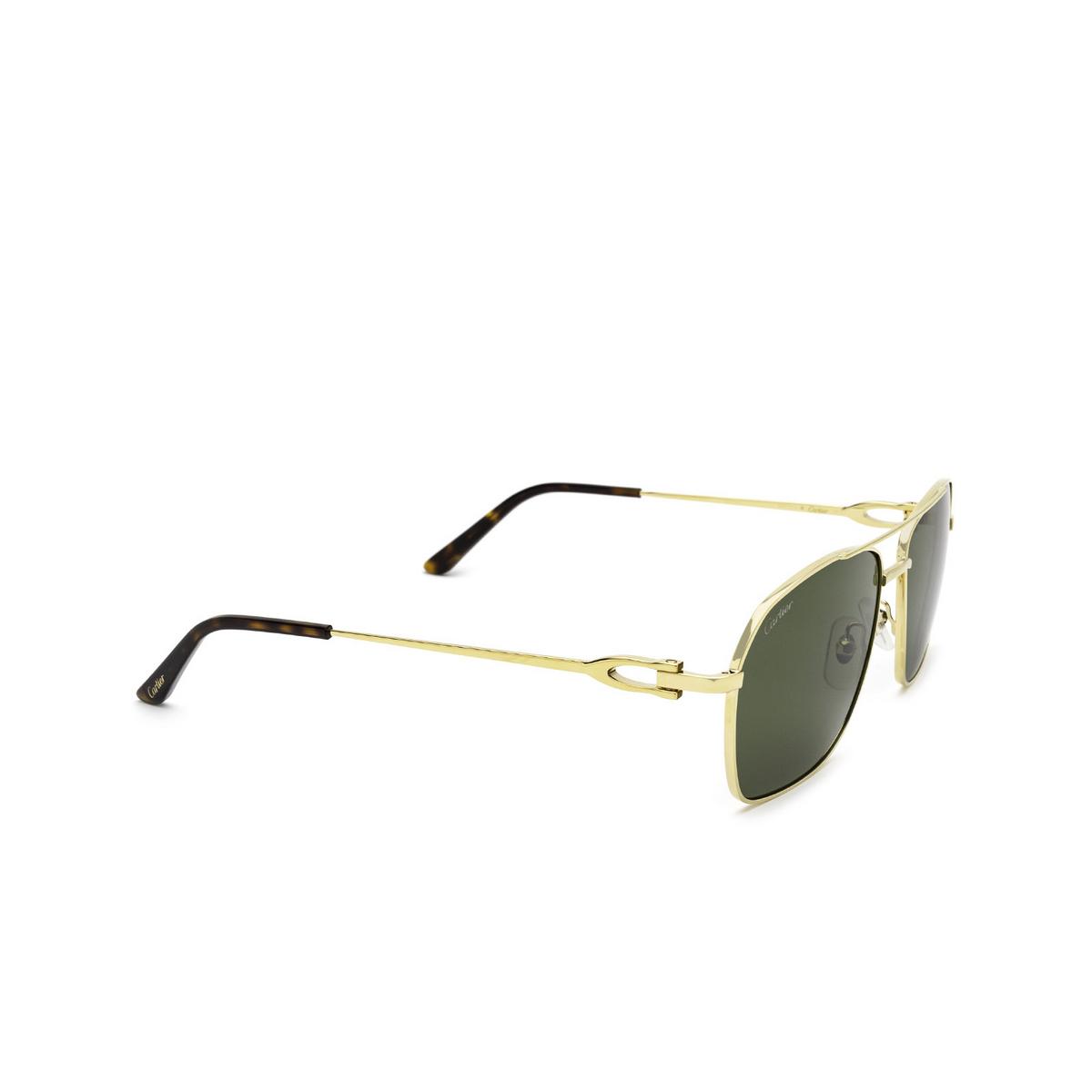 Cartier® Aviator Sunglasses: CT0306S color Gold 002 - three-quarters view.