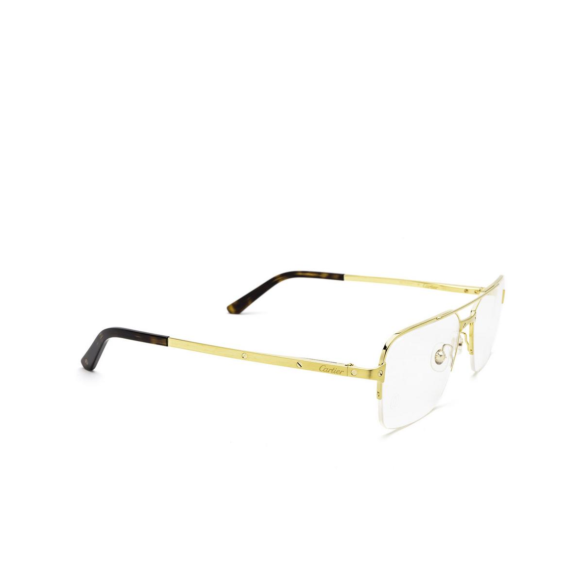 Cartier® Rectangle Eyeglasses: CT0308O color Gold 003 - three-quarters view.