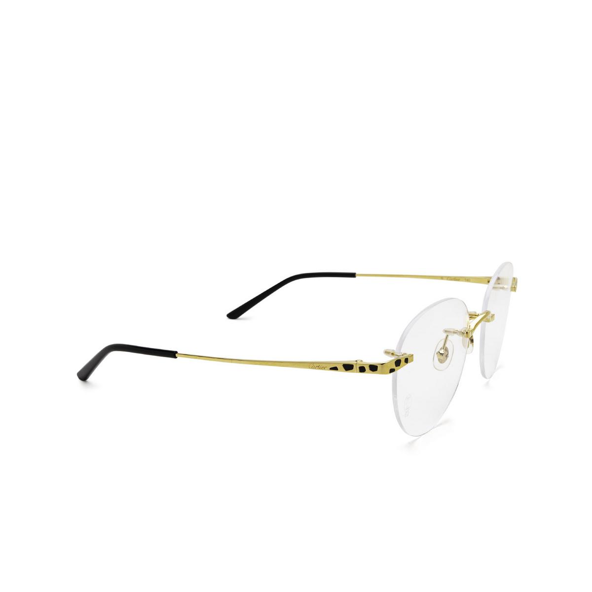 Cartier® Round Eyeglasses: CT0309O color Gold 001 - three-quarters view.