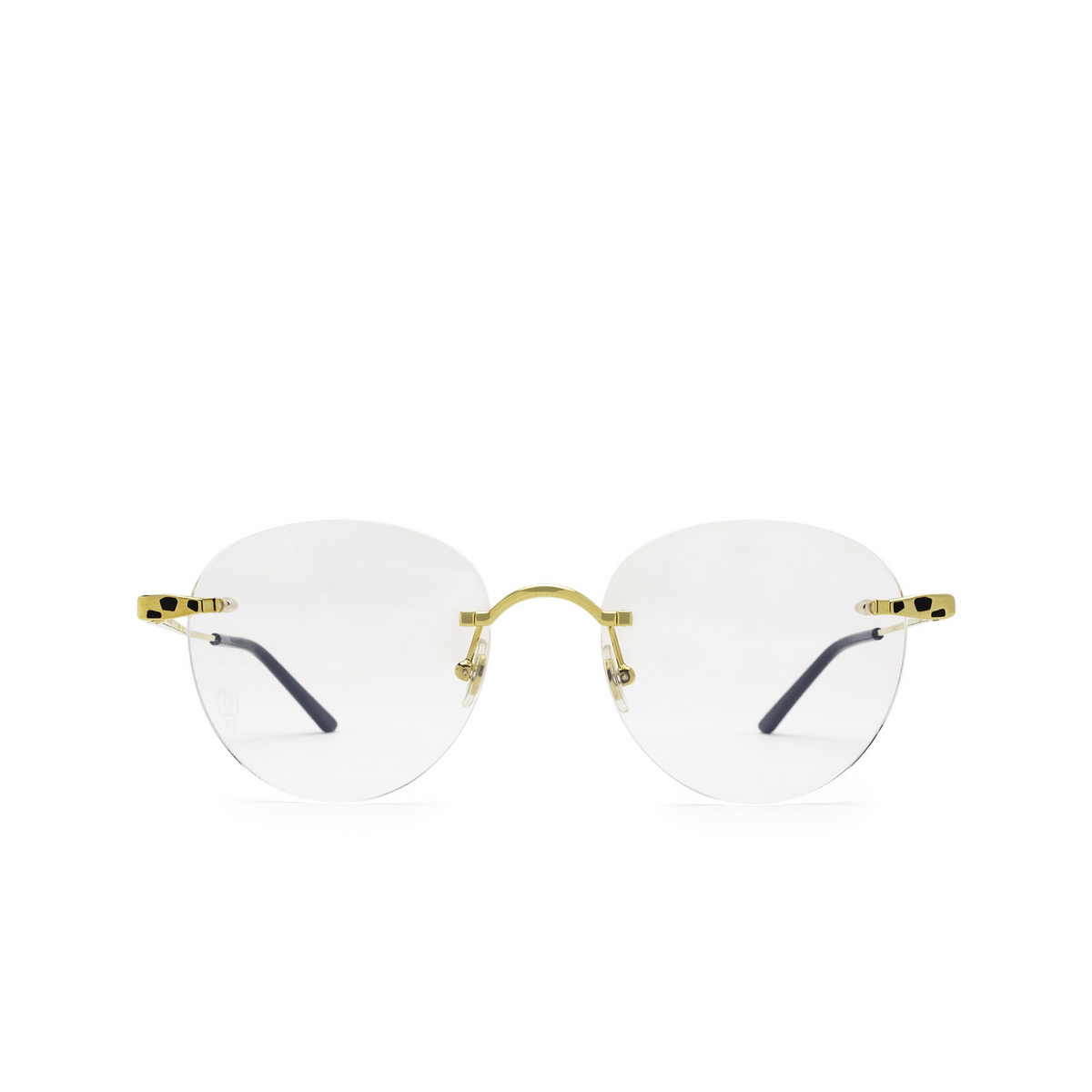 Cartier® Round Eyeglasses: CT0309O color Gold 001 - front view.