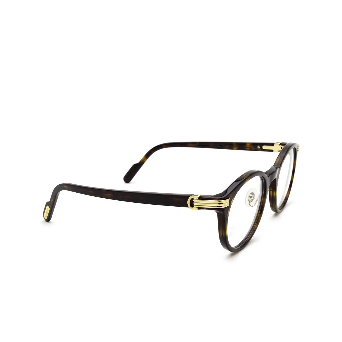 Cartier® Round Eyeglasses: CT0312O color Havana 002 - three-quarters view.