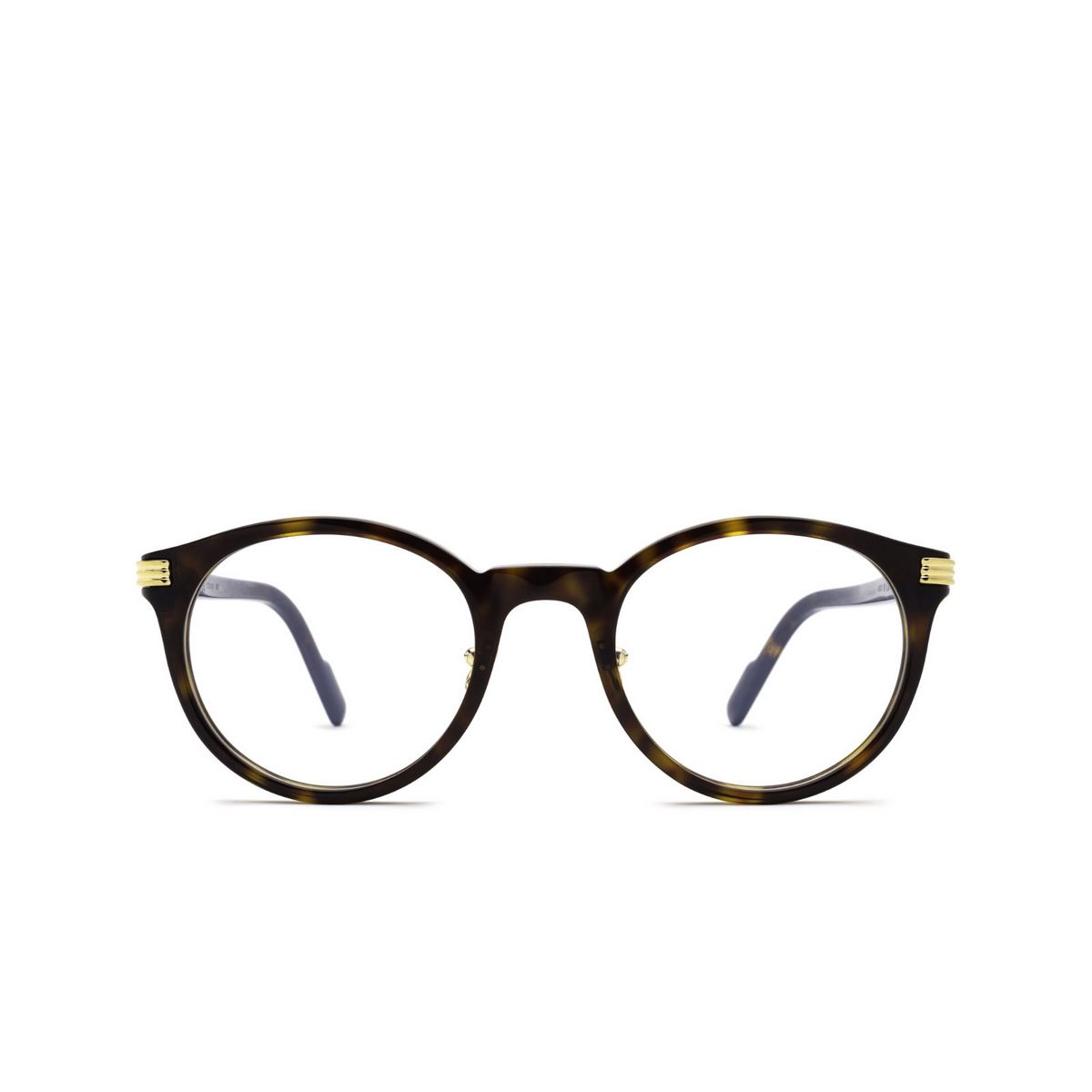Cartier® Round Eyeglasses: CT0312O color Havana 002 - front view.