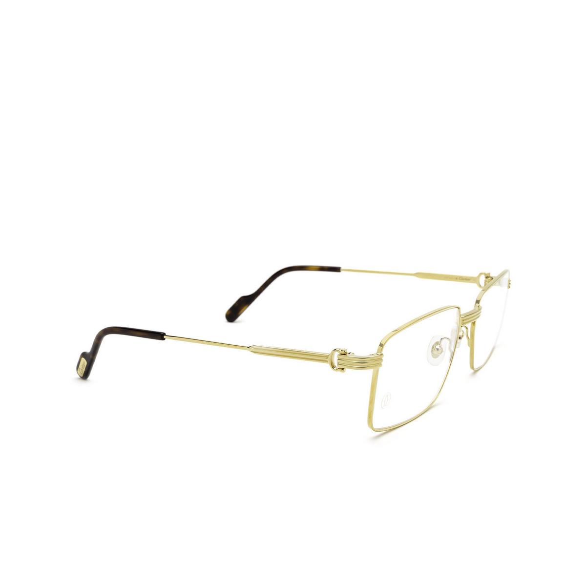 Cartier® Rectangle Eyeglasses: CT0314O color Gold 001 - three-quarters view.