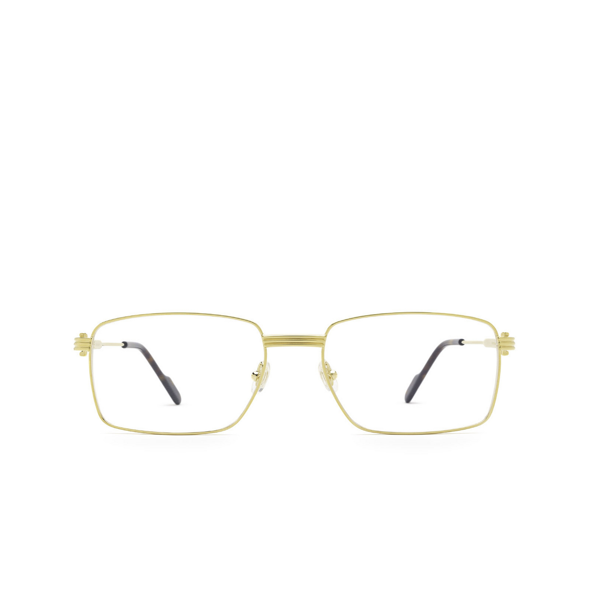 Cartier® Rectangle Eyeglasses: CT0314O color Gold 001 - front view.