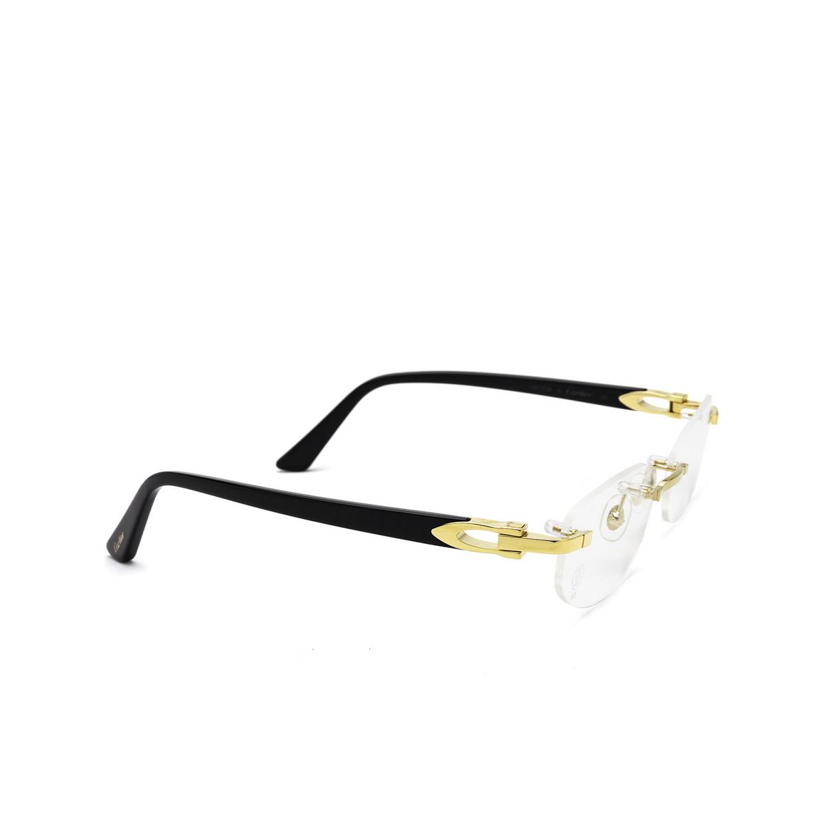 Cartier® Rectangle Eyeglasses: CT0318O color Black 001 - three-quarters view.