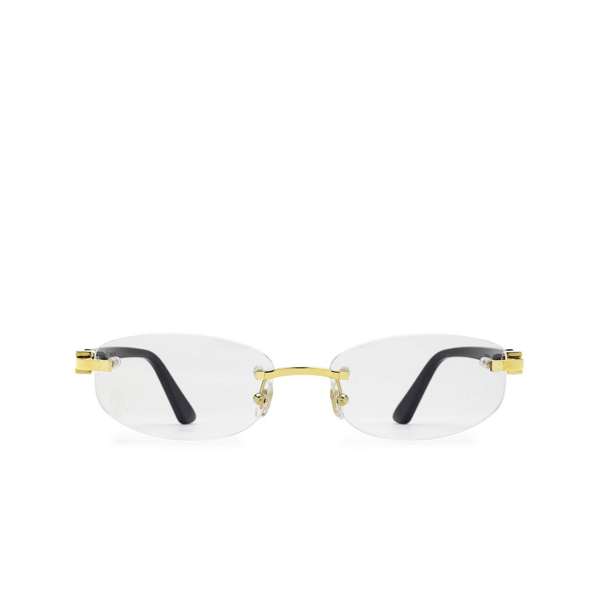Cartier® Rectangle Eyeglasses: CT0318O color Black 001 - front view.