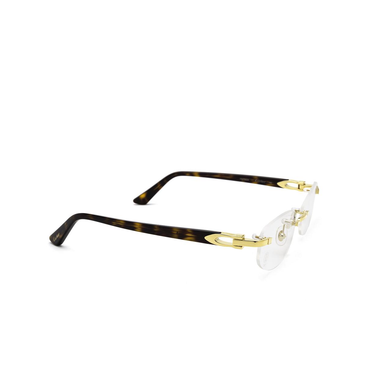 Cartier® Rectangle Eyeglasses: CT0318O color Havana 002 - three-quarters view.