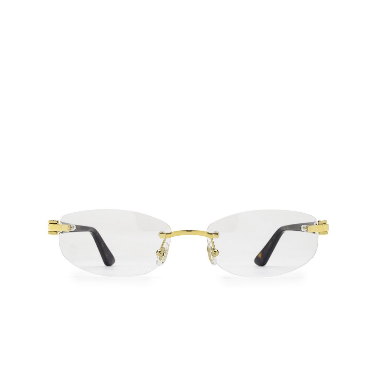 Cartier® Rectangle Eyeglasses: CT0318O color Havana 002 - front view.