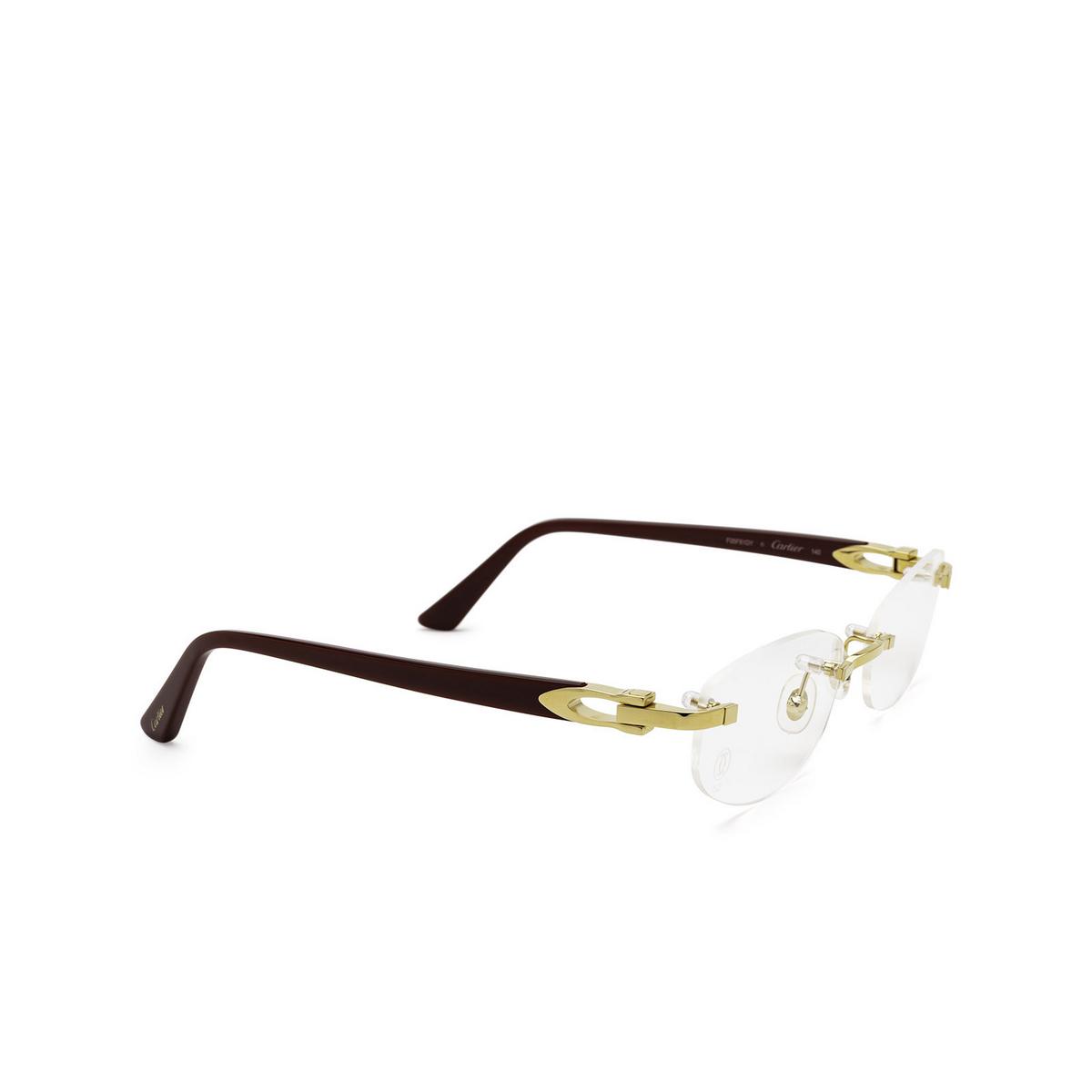 Cartier® Rectangle Eyeglasses: CT0318O color Burgundy 003 - three-quarters view.