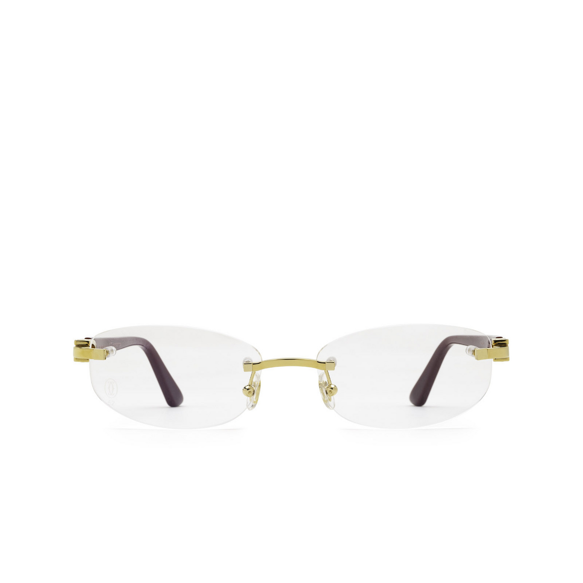Cartier® Rectangle Eyeglasses: CT0318O color Burgundy 003 - front view.