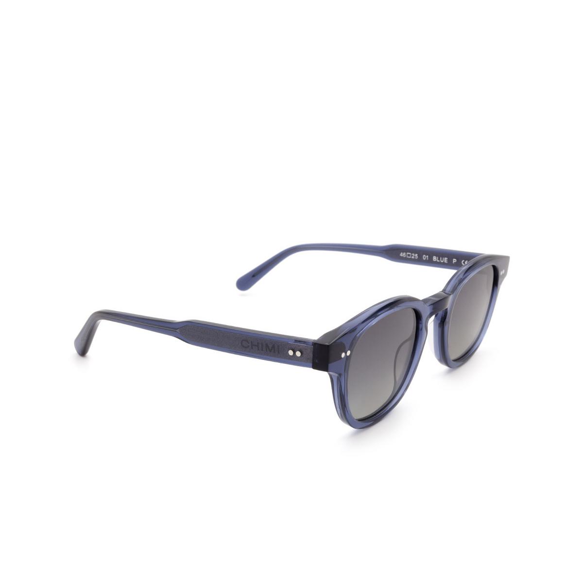 Chimi® Square Sunglasses: 01 color Blue - three-quarters view.