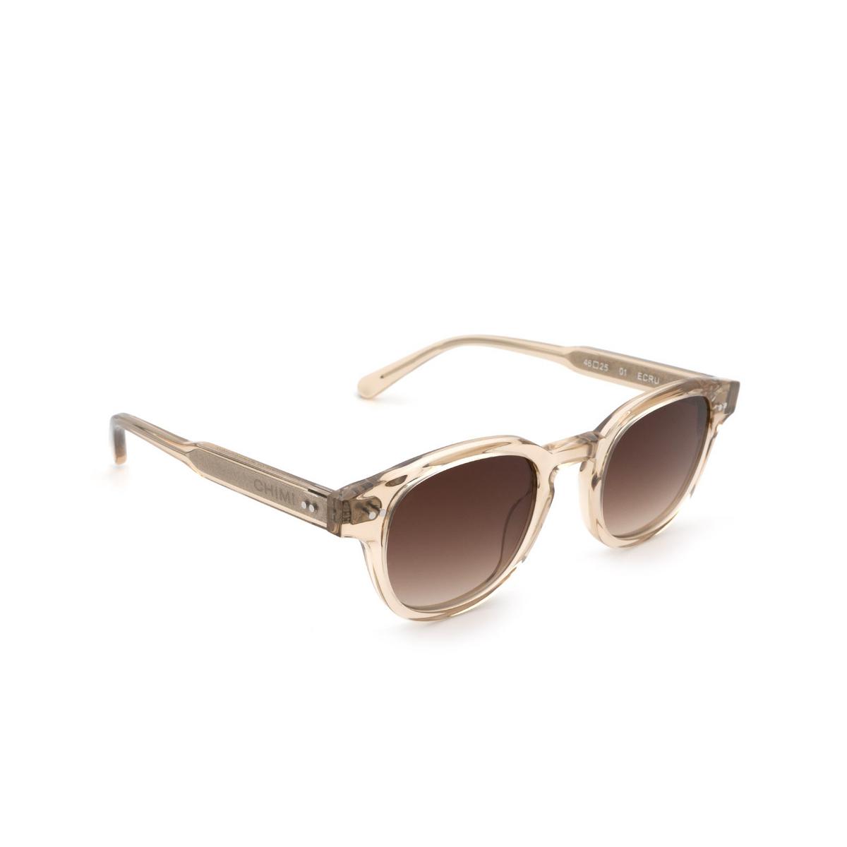 Chimi® Square Sunglasses: 01 color Ecru - three-quarters view.