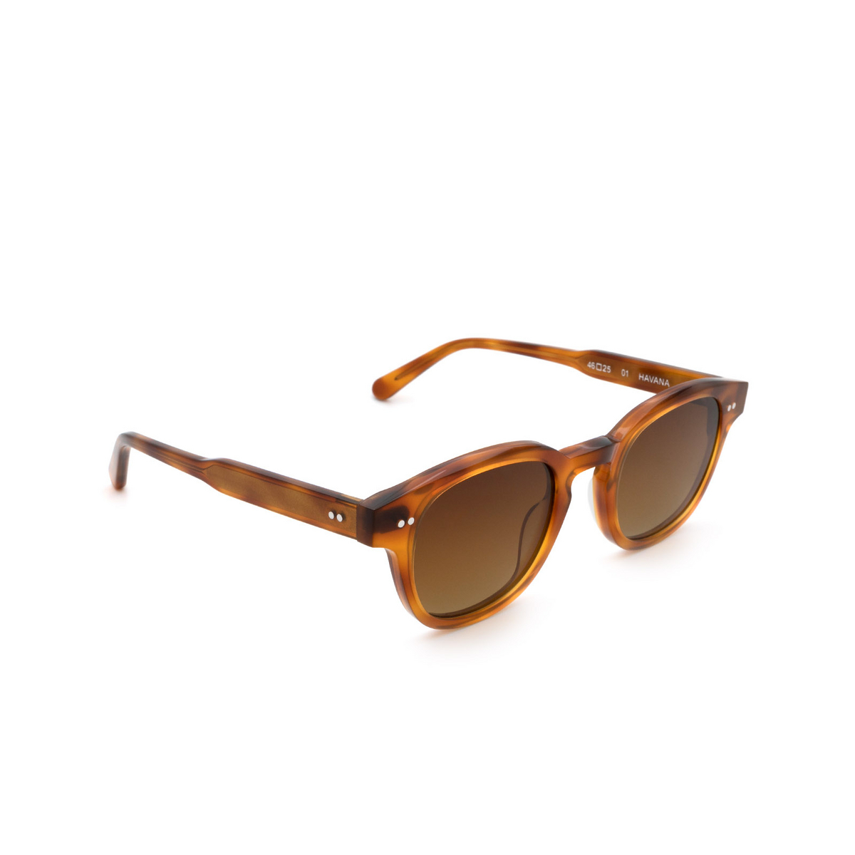 Chimi® Square Sunglasses: 01 color Havana - three-quarters view.
