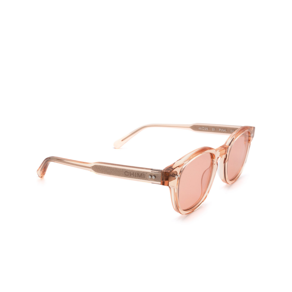 Chimi® Square Sunglasses: 01 color Pink - three-quarters view.