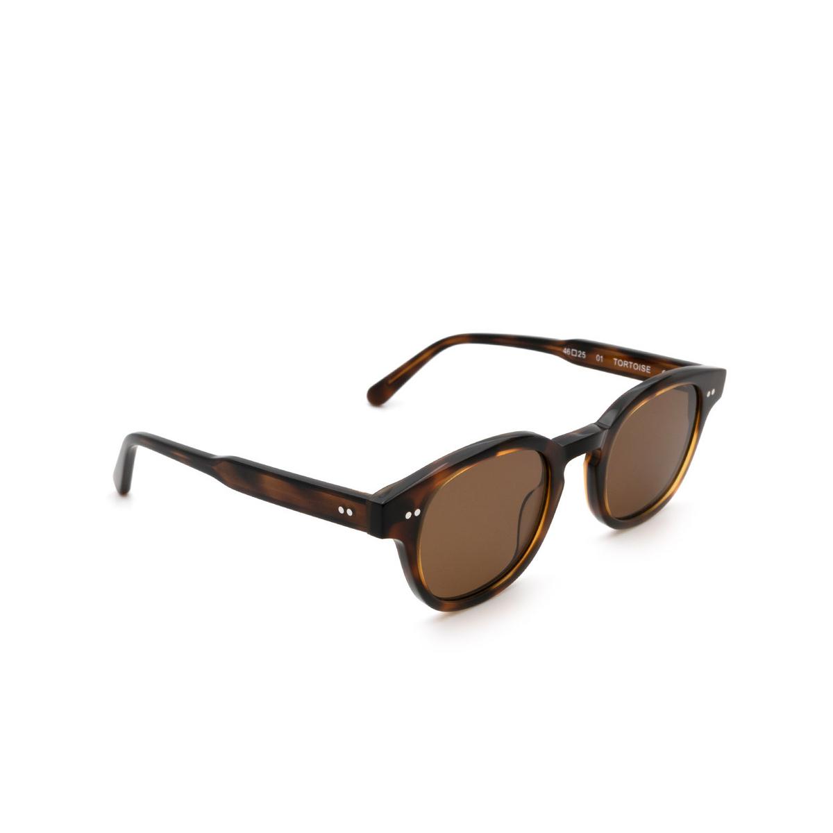 Chimi® Square Sunglasses: 01 color Tortoise - three-quarters view.