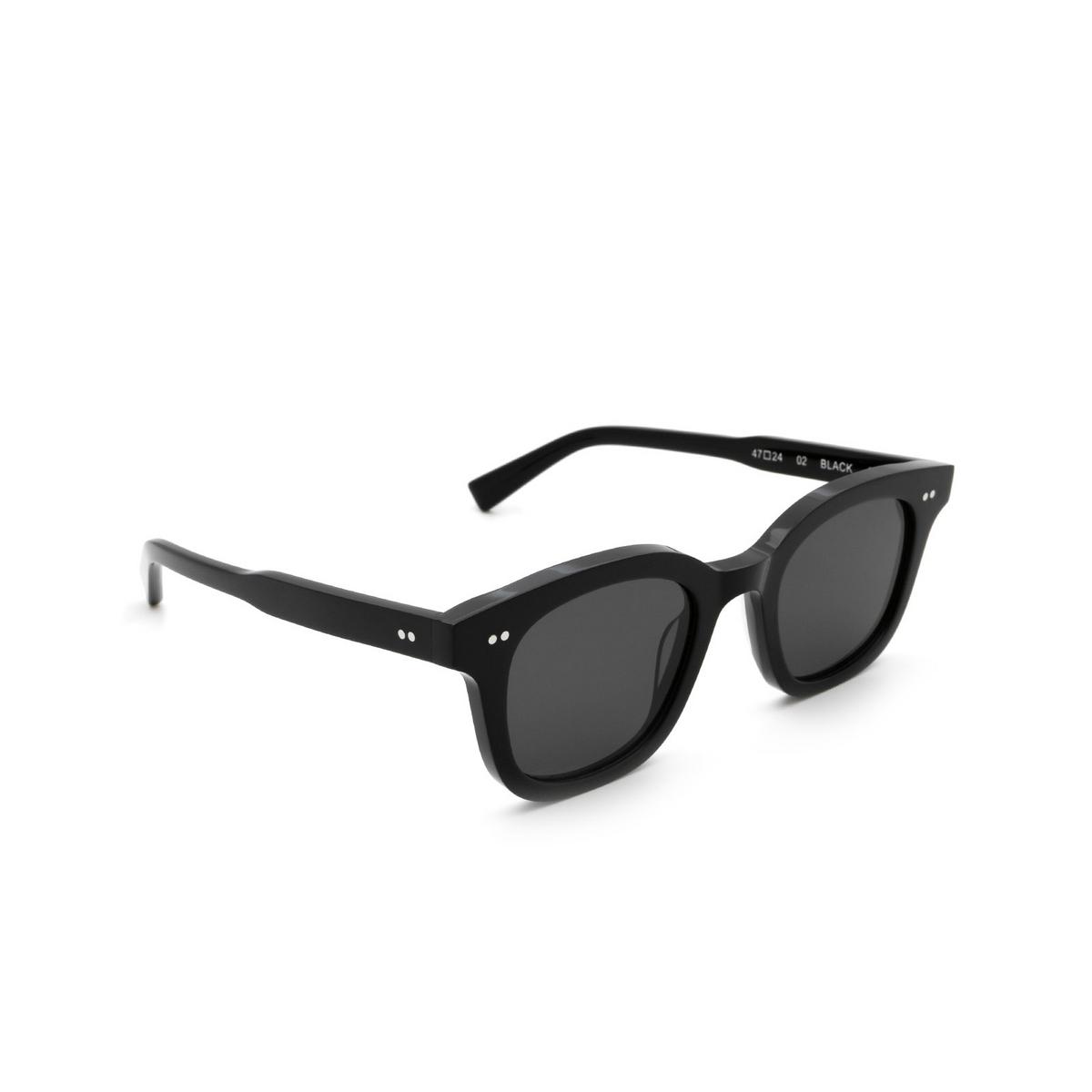 Chimi® Square Sunglasses: 02 color Black - three-quarters view.
