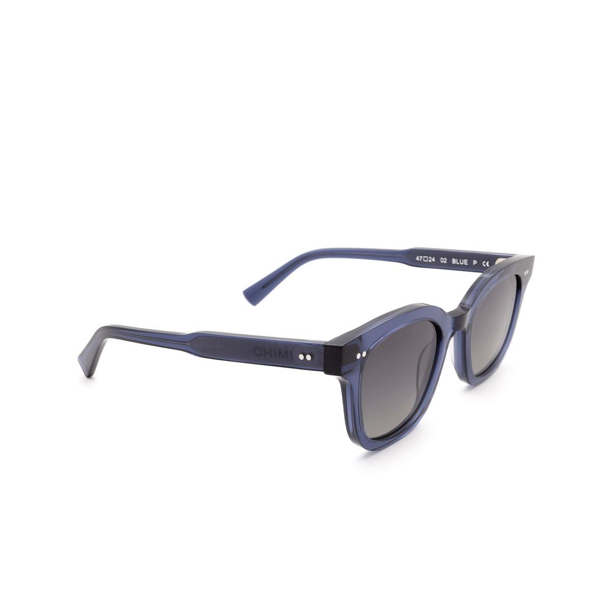 Chimi® Square Sunglasses: 02 color Blue - three-quarters view.