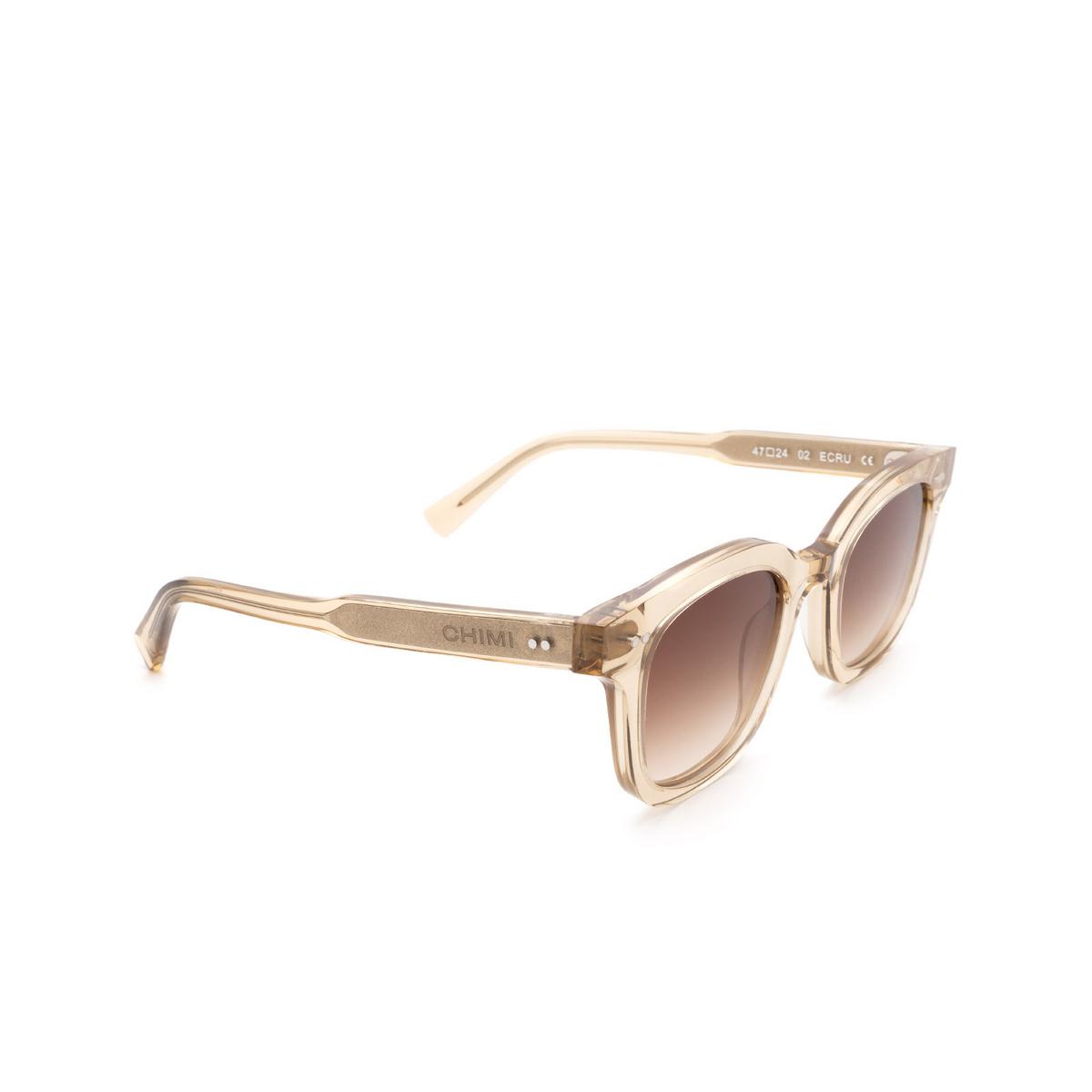 Chimi® Square Sunglasses: 02 color Ecru - three-quarters view.