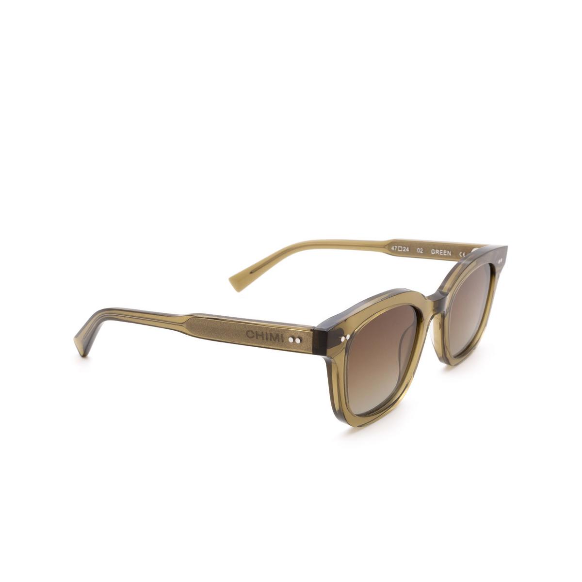 Chimi® Square Sunglasses: 02 color Green - three-quarters view.