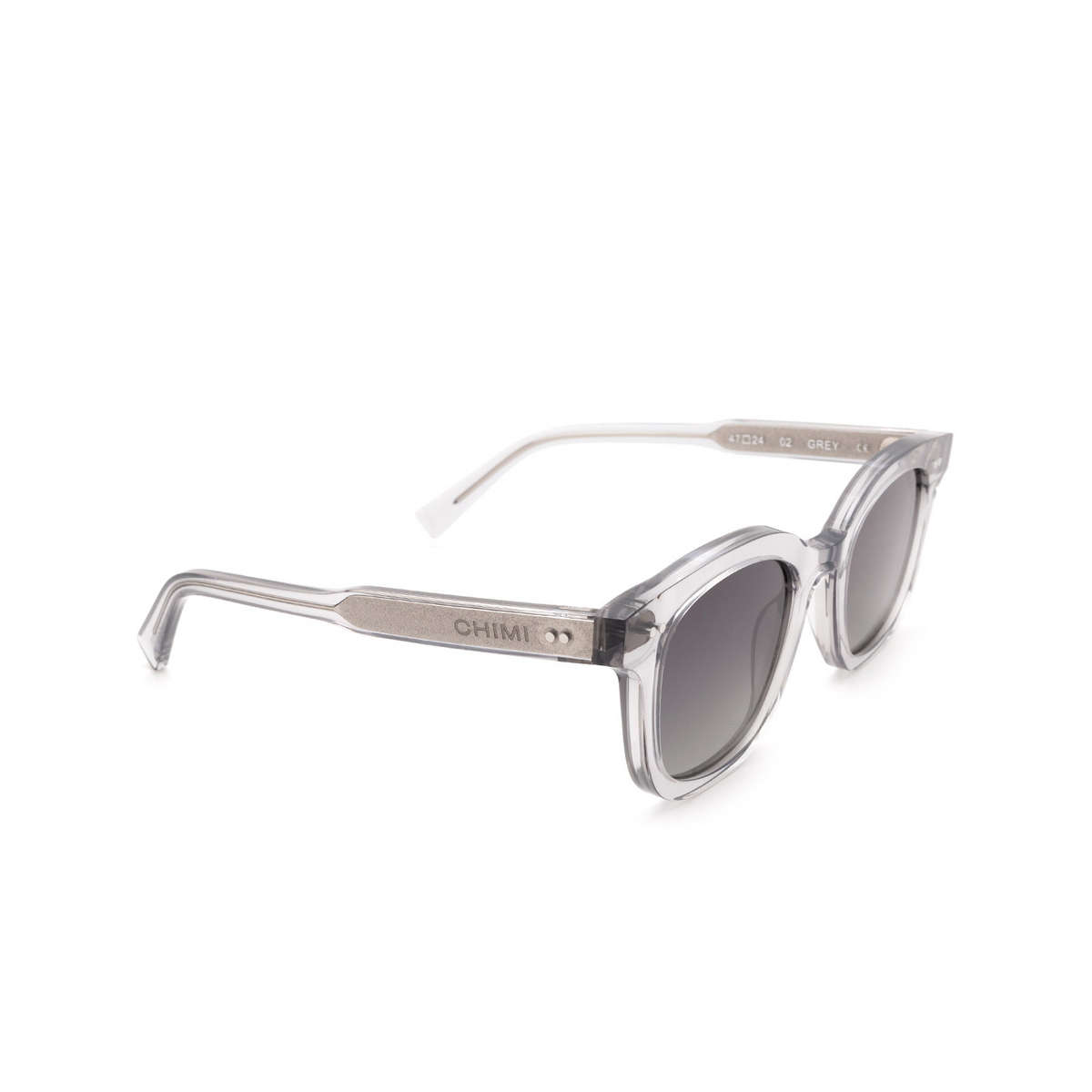 Chimi® Square Sunglasses: 02 color Grey - three-quarters view.
