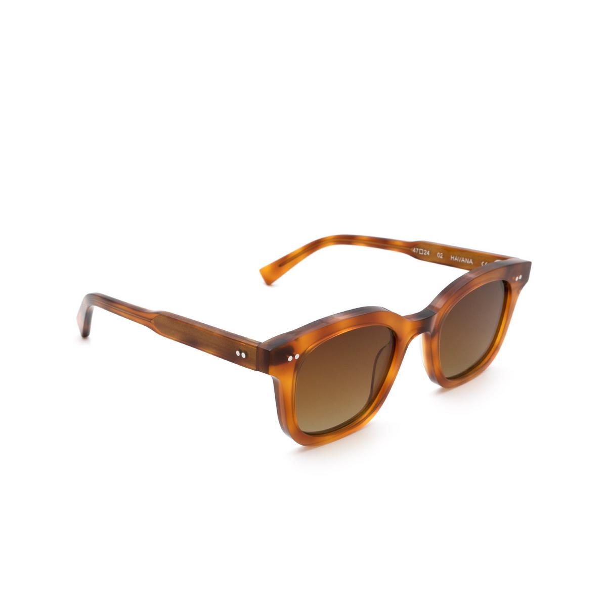 Chimi® Square Sunglasses: 02 color Havana - three-quarters view.