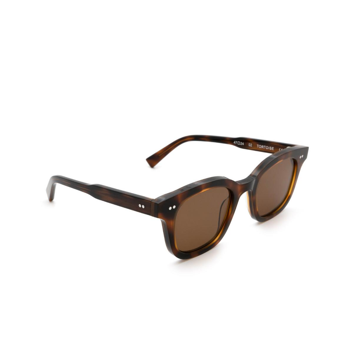 Chimi® Square Sunglasses: 02 color Tortoise - three-quarters view.