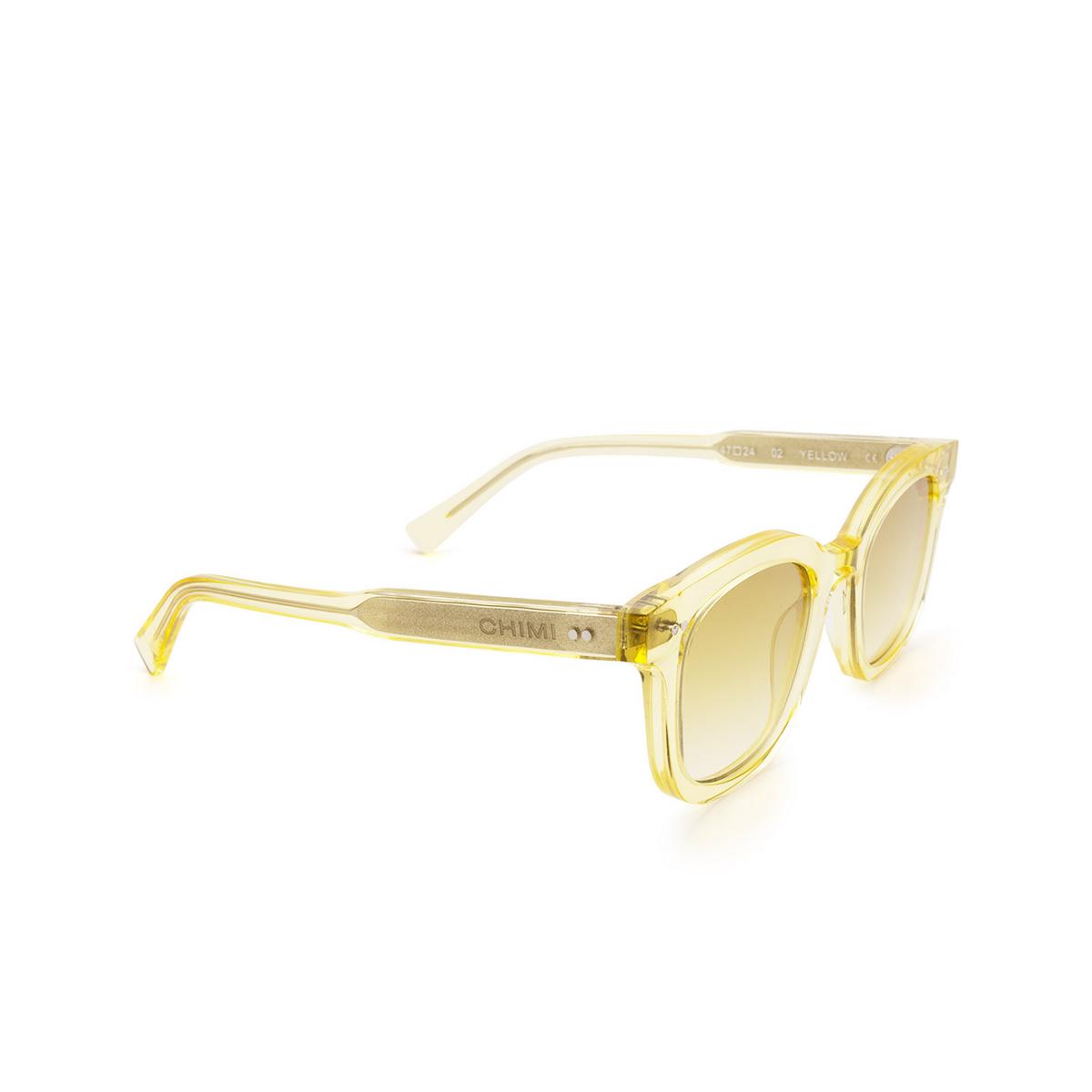 Chimi® Square Sunglasses: 02 color Yellow - three-quarters view.