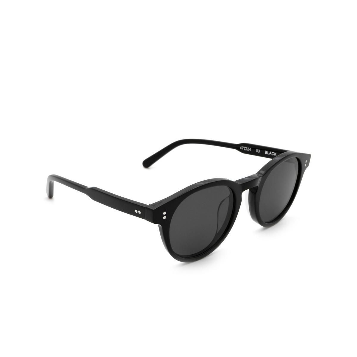 Chimi® Round Sunglasses: 03 color Black - three-quarters view.