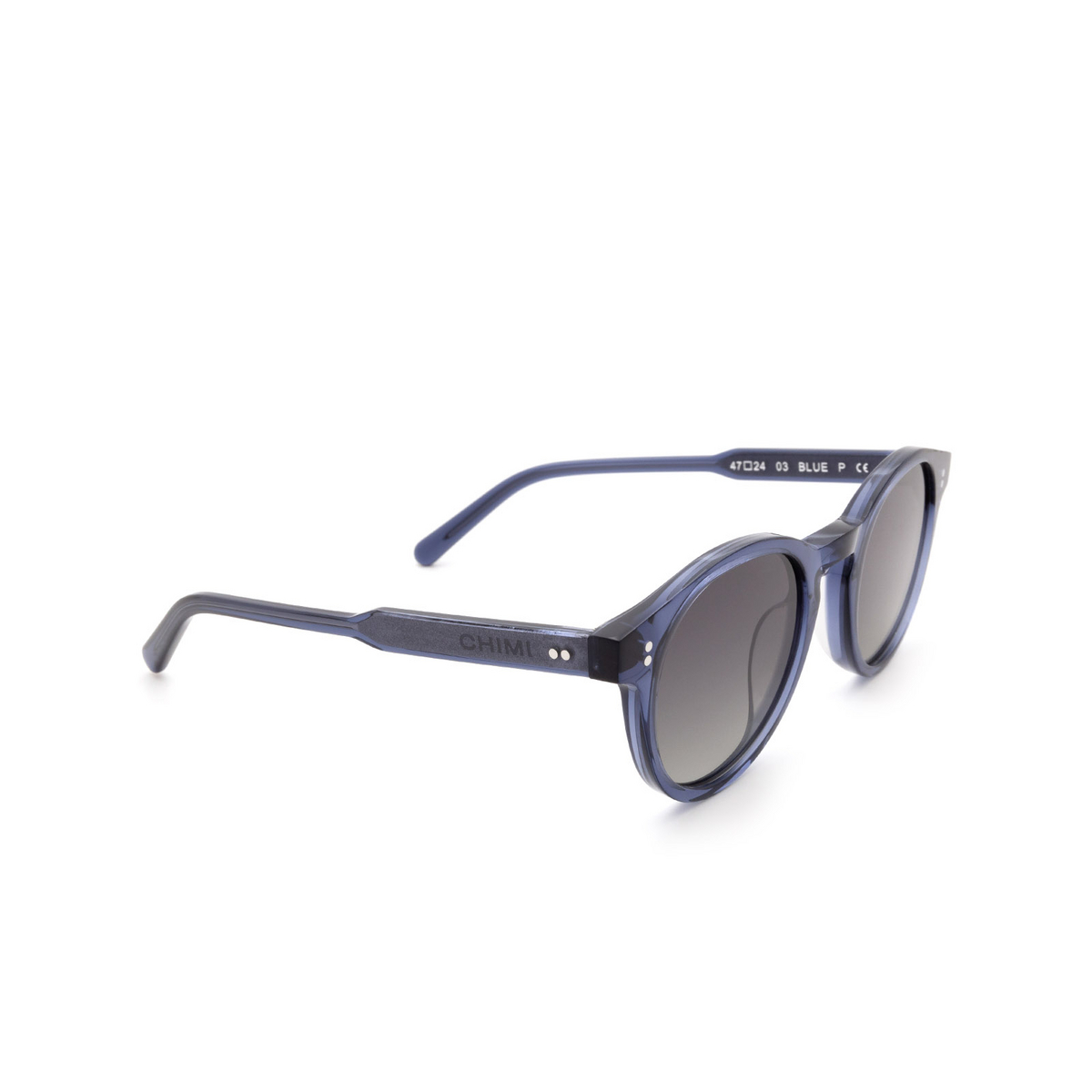 Chimi® Round Sunglasses: 03 color Blue - three-quarters view.