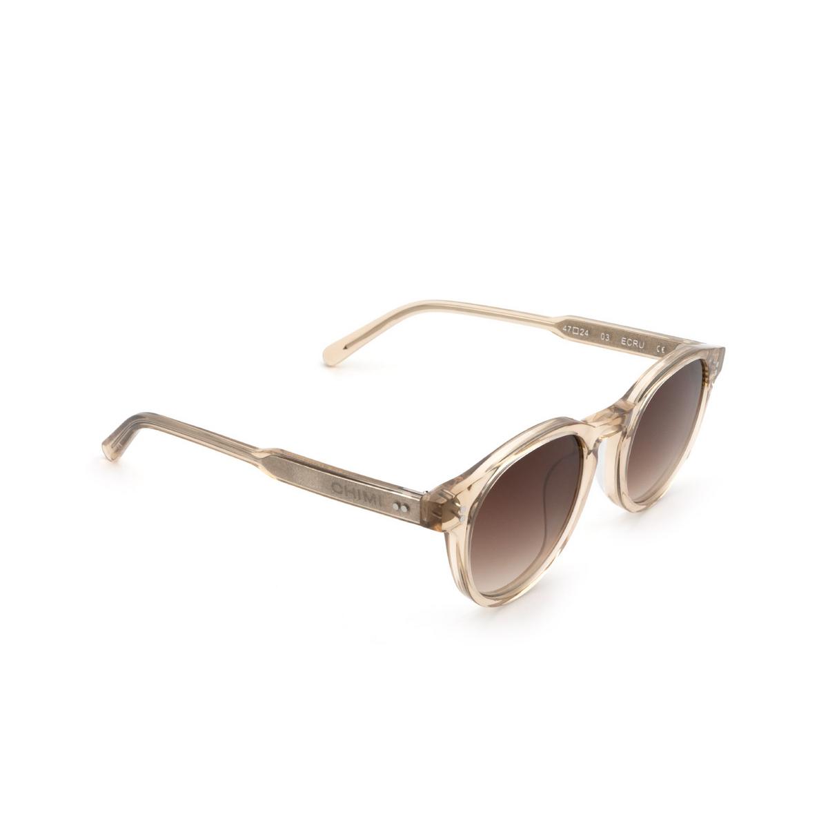 Chimi® Round Sunglasses: 03 color Ecru - three-quarters view.
