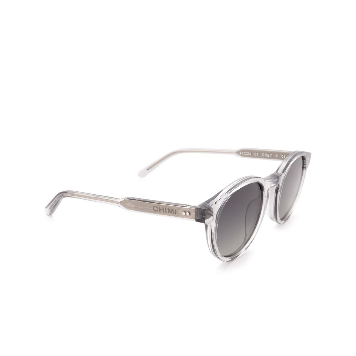 Chimi® Round Sunglasses: 03 color Grey - three-quarters view.