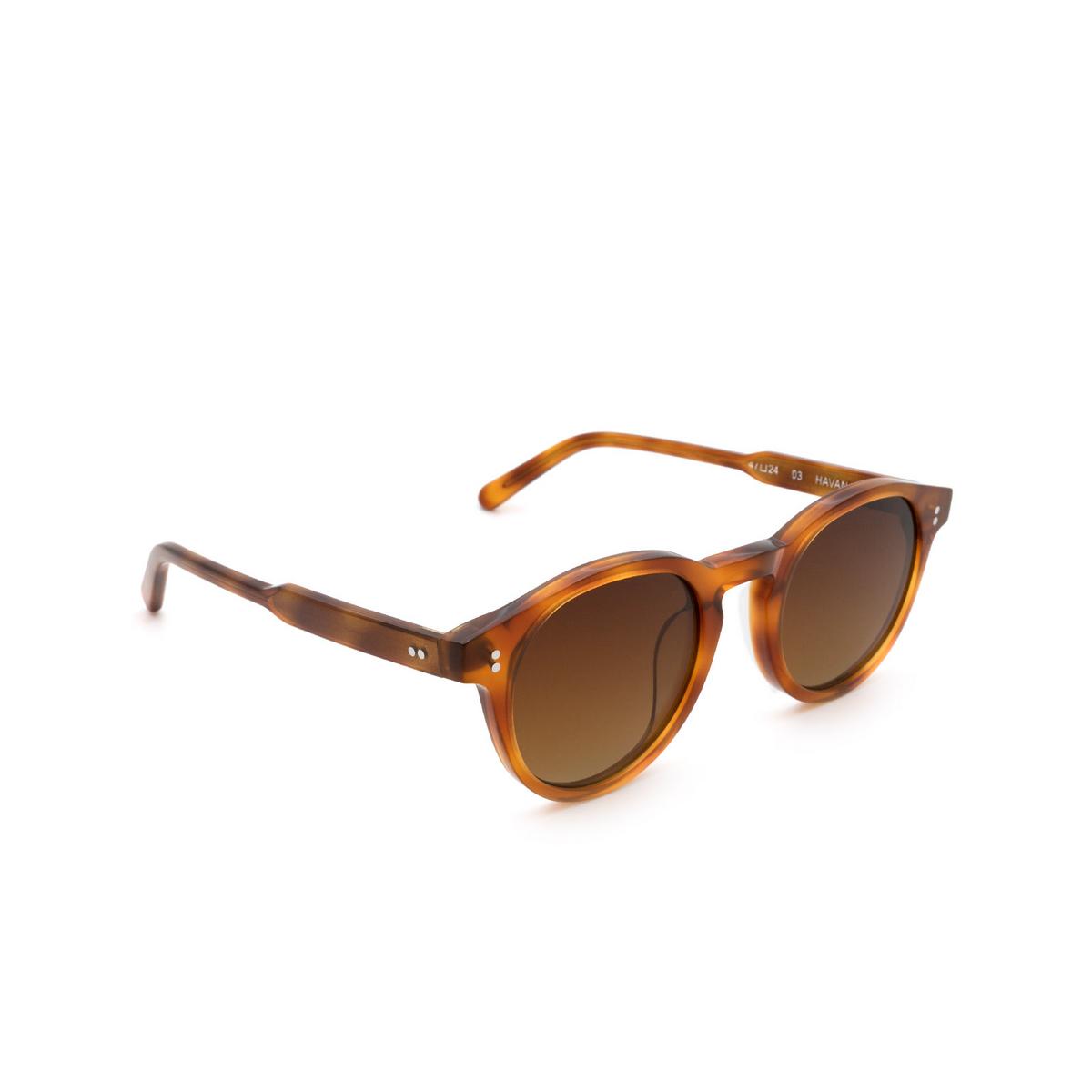 Chimi® Round Sunglasses: 03 color Havana - three-quarters view.