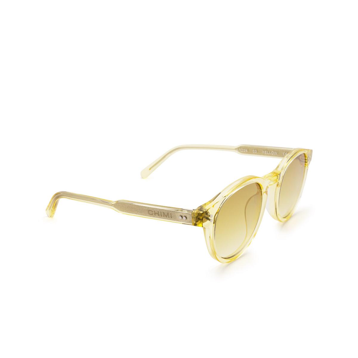 Chimi® Round Sunglasses: 03 color Yellow - three-quarters view.