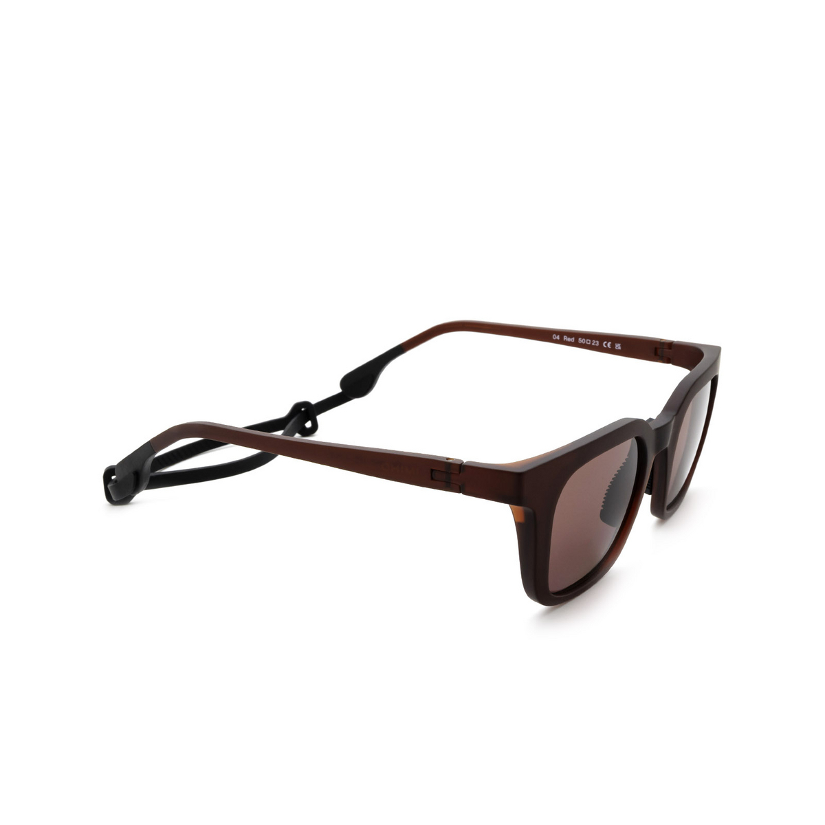 Chimi® Square Sunglasses: 04 ACTIVE color Red - three-quarters view.