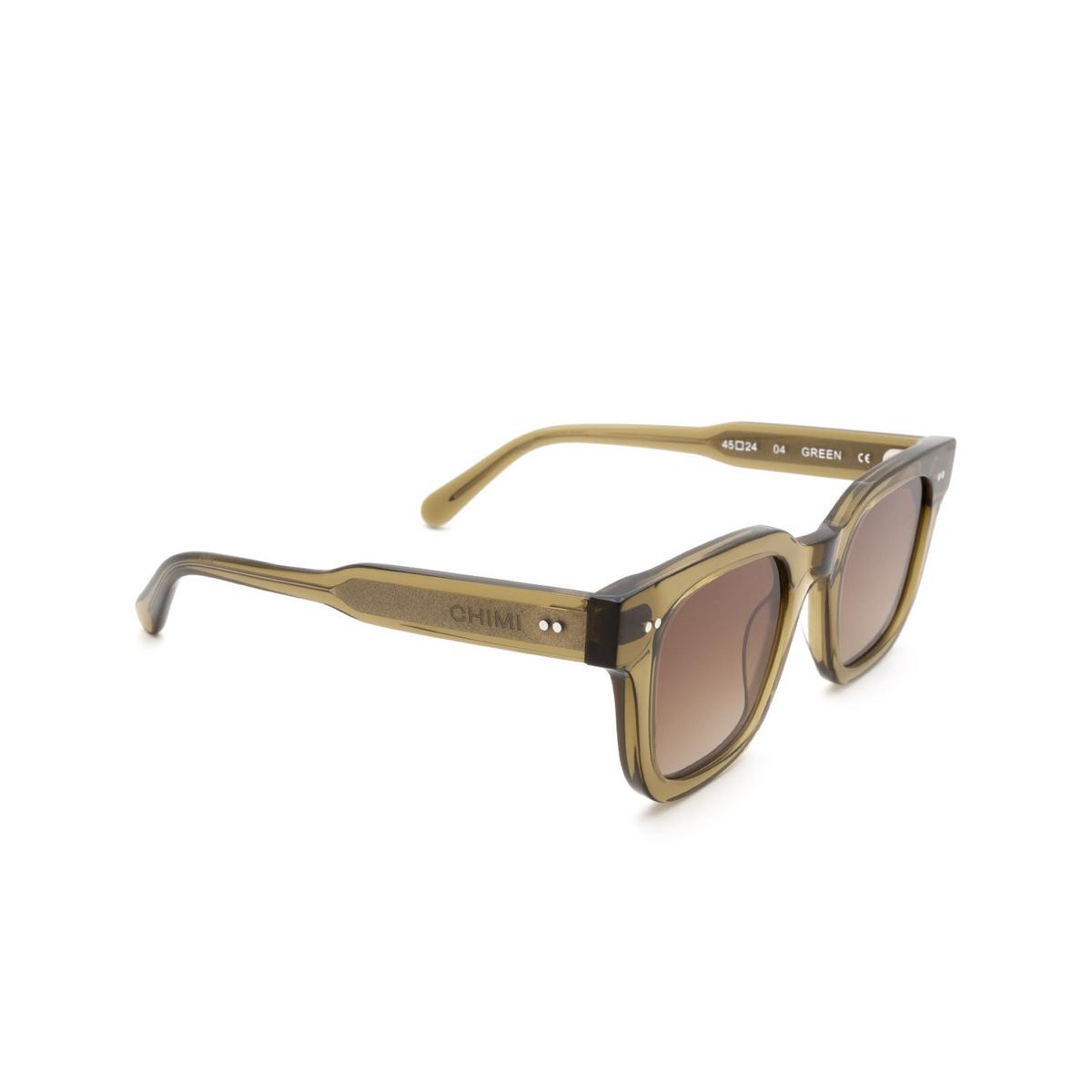 Chimi® Square Sunglasses: 04 color Green - three-quarters view.