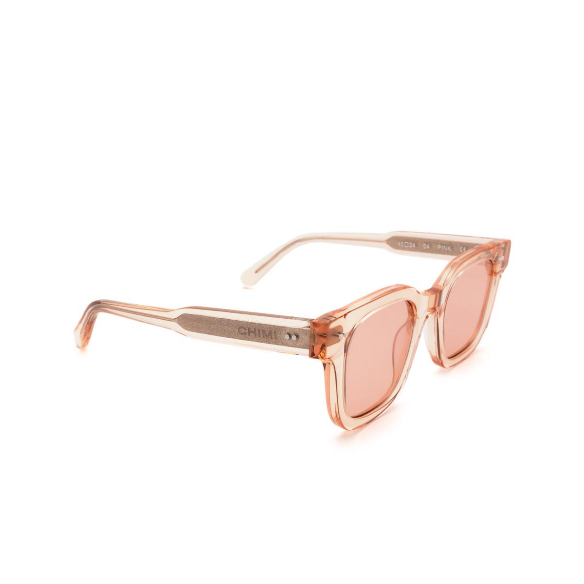 Chimi® Square Sunglasses: 04 color Pink - three-quarters view.